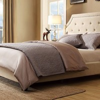 Agostini Bed Set in Beige Linen - Mattress Firm - Mattress Firm