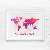 Your Adventure Awaits, World Map, Adventure Awaits, Watercolor World Map, Rose, Coral Nursery Printable, World Map Wall Art Print, Wall Art