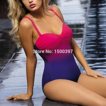 Edgy Gradient Colored One-Piece Swimsuit