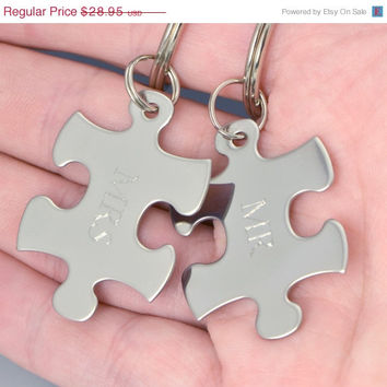 Fathers Day Sale His and Hers Keychain - Couples Keychain - Engraved Puzzle Piece - Personalized Keychain - Key Ring - Wedding Gift