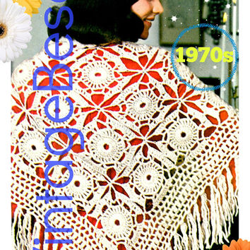 DIGITAL PATTERN • SHAWL Crochet Pattern • Ladies Lacy 30 inches Deep Shawl • Quick to Make • 1970s Vintage Crochet Pattern • PdF Pattern