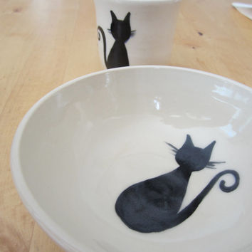 Black Cat - Children's Dinnerware Gift Set - Cup and Bowl