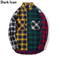 Color Block Patchwork Turn-down Collar Men's Shirt Flannel Plaid Hip Hop Shirts Men High Street Shirt