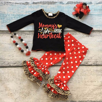 cotton Valentine's day boutique baby girls outfits clothing ruffles suit mommy's heartbeat love leopard top match accessories