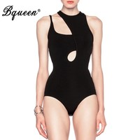Bqueen 2017 New Asymmetric Cut Out  Strap Bodysuit  Skinny Sexy Bandage Bodysuit Black Shorts