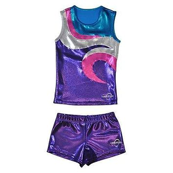 O3CHSET051 - Obersee Cheer Dance Tank and Shorts Set - Swirl Purple