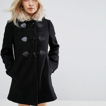 ASOS PETITE Duffle Coat with Faux Fur Hood at asos.com