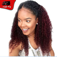 1B/Burgundy Kinky Curly African American Human Hair Wig 130 Density Two Tone Glueless Ombre Lace Feont Wig For Black Woman