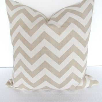 CHEVRON PILLOW covers 18x18 Tan Decorative Throw Pillows Cream Taupe Throw Pillow Covers Khaki Tan Chevron Pillow Home and living home decor