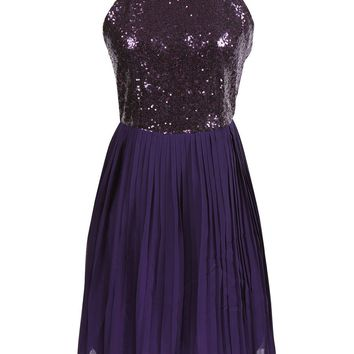 Casual Spaghetti Strap Back Hole Glitter Plain Pleated Skater Dress