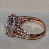 Luxury 192 pcs Tiny Sapphire Women Fashion Jewelry Princess 925 Silver Simulated Diamond Rose gold Wedding band Ring Sz5-11