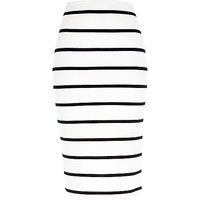 River Island Womens White stripe pull on pencil skirt
