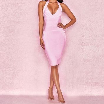Willow- Bodycon V- Neck Bandage Dress
