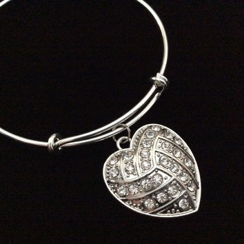 Crystal Volleyball Heart Charm on a Silver Expandable Wire Bangle Bracelet Sports Team Coach Gift Adjustable
