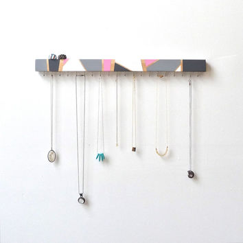 Jewelry Wall Organizer - Geometric Jewelry Holder - Functional Art - Wood Wall Art - Modern Decor - Jewelry Hanger - Wooden Wall Decor