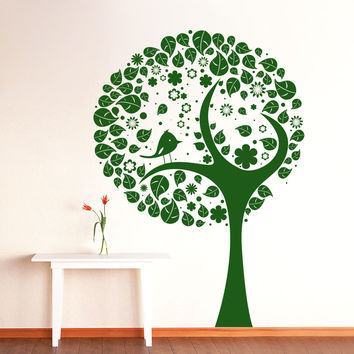 Wall Decal Tree Silhouette Bird Flowers Wall Decals For Playroom Bedroom Living Room Vinyl Stickers Nature Home Decor Art Mural 3945