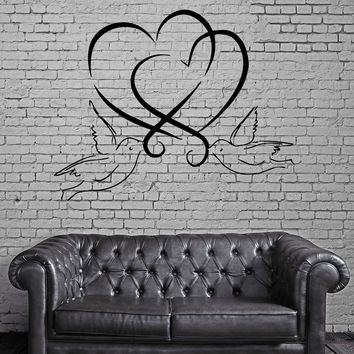 Hearts And Doves Love Marriage Wedding  Decor Wall MURAL Vinyl Art Sticker Unique Gift z796