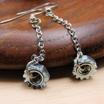 Steampunk Drop Earrings Dangles Hardware Jewelry Long Chain Industrial Hardware Accents