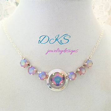 Eclipse, Swarovski Necklace, 12MM Cushion Cut, 8MM, Opal Electra, Pastel, DKSJewelrydesigns, FREE SHIPPING