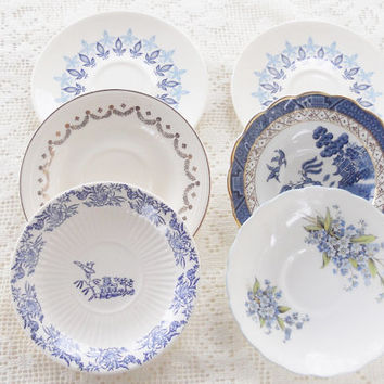 Antique Cottage Style Mismatched Saucers, Set of 6, French Country, Shabby Chic, Mid Century, Tea Party, Wedding Bridal