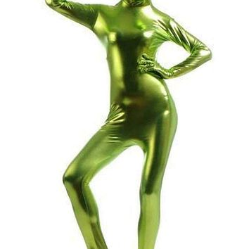 Halloween Black Unisex Sexy Metallic Shiny Zentai Catsuit Men Women Long Sleeve Full Bodysuit Cosplay Costume Latex Zentai Suit Macchar Cosplay Catalogue