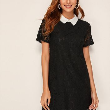 Contrast Collar Lace Overlay Tunic Dress