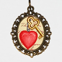 Heart And Key Necklace Oval Pendant