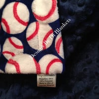 Minky Baby Crib Blanket Baseball on Navy Navy Minky Dot Back Crib Size 36 x 45 in