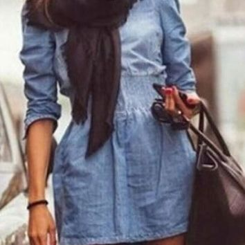 Blue Plain Pockets Zipper Long Sleeve Denim Dress