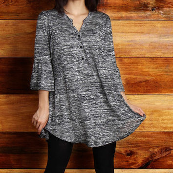 Reborn Collection Charcoal Melange Bell-Sleeve Tunic - Plus | zulily