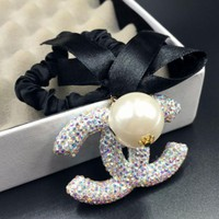 ONETOW Chanel new hairpin fashion small incense double-sided rhinestone ribbon bow hair rope