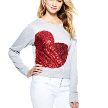 Sequin Side Heart Sweatshirt - Grey Multi