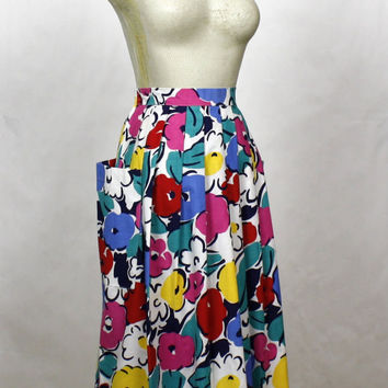 Full Floral Skirt 1950s Style Cotton Pockets Midi Circle Skirt High Waisted A Line Casual Colorful Womens Skirt M L XL Medium - Extra Large