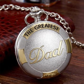 Dad fob Watch with Chain Silver Gold Quartz Pocket Watch