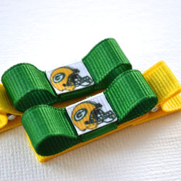 Green Bay Packers Hair Clips - Toddler Hair Clips - Green Bay Packers Bows -Green Bay Packers Stocking Stuffer