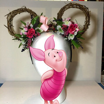 Disney Piglet Inspired Mickey Floral Ears