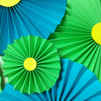 Green And Blue Paper Rosettes/Fans/Pinwheel backdrop Decor, Party Decoration, Birthday, Baby Shower Decor.