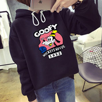 Goofy Mickey's Revue 1932 Black Autumn Korean Kawaii Cartoon Lovely Hoodie Fleece Loose Womens Harajuku Goofy Pattern Pullovers