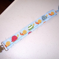 Teddy Bear Pacifier Clip Holder Baby Blue with Turtles and Snails Fits all Pacifiers Teddy Bear