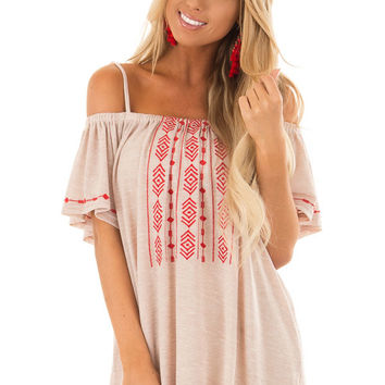 Sand Off Shoulder Top with Crimson Embroidery Detail