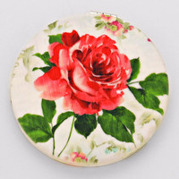 Vintage Red Rose Compact Mirror