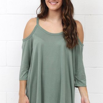 Comfort Modal Cold Shoulder Basic {Sage}