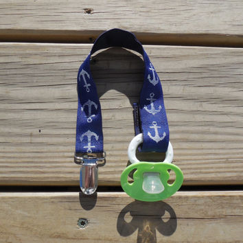 Pacifier Holder, Navy Anchors Ribbon Pacifier Holder or Clip, Baby Boy Pacifier Holder, Binky Clip, Anchor Toy Clip