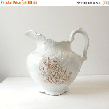 Antique Ford China Ironstone Pitcher, Bristol Pattern, Large Brown Transferware Pottery, Victorian Home Decor