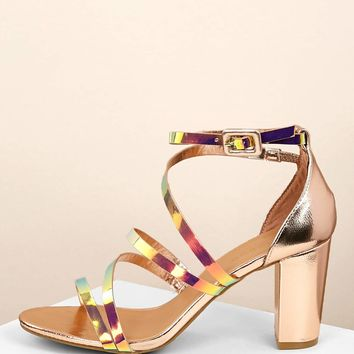 Iridescent Strappy Side Buckled Heel Sandals