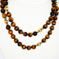 Tigers Eye Beaded Necklace, Hand Knotted w/Gold Tone Station Beads, 14K Gold Clasp, Vintage 1960s 1970s