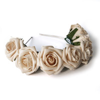 Crown and Glory Beige Whole Lotta Rosie Headband