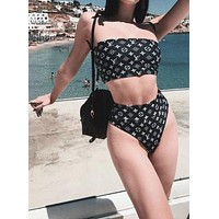 LV BIKINI Louis Vuitton New Fashion Coffee Two Piece Off Shoulder High Waist Swimming White