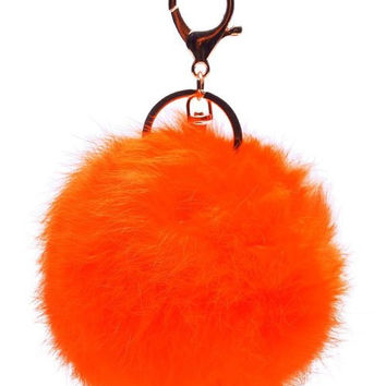 Orange Small Rabbit Fur Pom Keychain