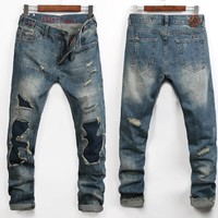 Ripped Holes Men Men's Fashion Stylish Simple Design Fashion Pants Jeans [6528576067]